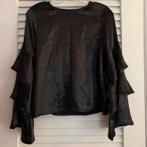 Gracia Satin Finish Tiered Bell Sleeve Top